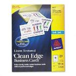 Avery Clean Edge Ink Jet Business Cards, 2 x 3 1/2, White/Linen, 200/Pack