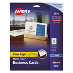 "Avery Clean Edge Ink Jet Business Cards, 2""x3 1/2"", Ivory, 200 per Pack"