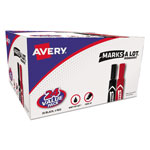Avery Regular Chisel Tip Permanent Marker Value Pack, Black/Red Ink