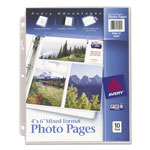 Avery Photo Pages for Six 4 x 6 Mixed Format Photos, 3 Hole Punched, 10/Pack