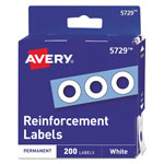 "Avery Self Adhesive Hole Reinforcements, 1/4"", White, 200 per Pack"