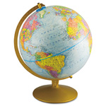 "Read Right/Advantus World Globe w/Blue Oceans, Gold-Toned Metal Desktop Base, 12"" dia."