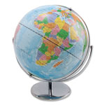 "Advantus World Globe, Blue Oceans, 12"" x 16"" x 13"", Silver Base"