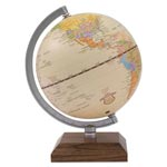 "Advantus Ivory Desk Globe, 5 3/5"" Diameter, Walnut Base/Silver Arm"