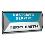Advantus People Pointer Wall/Door Sign, Black/Silver, 8 1/2 x 4