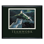 "Advantus Framed ""Teamwork Great Wall of China"" Motivational Print, 30w x 24h, Black Frame"