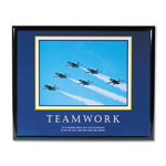 "Advantus Framed ""Teamwork Jets"" Motivational Print, 30w x 24h, Black Frame"