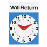 "Advantus Open/Closed Clock Sign with ""Will Return"" Clock, 6 x 9, Blue/White"