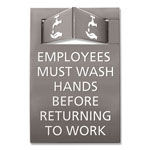 Advantus Pop-Out ADA Sign, Wash Hands, Tactile Symbol/Braille, Plastic, 6 x 9, Gray/White