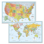 Advantus M-Series Full-Color U.S. and World Maps, 32 x 50