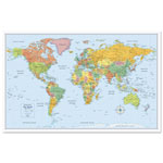 Advantus M-Series Full-Color World Map, 50 x 32