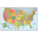Advantus U.S. Physical/Political Map, Dry Erase, Single Roller Mounted, 50 x 32