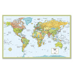 Advantus M-Series Full-Color Laminated World Map, 32 x 50