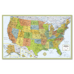 "Advantus Full Color 50"" x 32"" Laminated U.S. Wall Map"