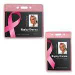 "Baumgarten's Badge Holders, Breast Cancer, 3-3/4""x6-1/2"", Vertical, Pink"