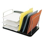 "Buddy Black Desk Combo with Six Sections, Plastic/Steel/Wire, 16 1/4""w x 11""d x 8 1/4""h"