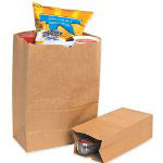 "Box Partners 6 1/8"" x 4"" x 12 3/8"" #8 White Grocery Bag"