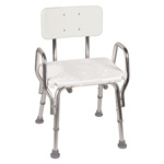 DMI Furniture Shower Chair with Arms, White, 20 3/4 x 20 1/2 x 28 1/2-32 1/2