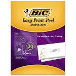 Bic Easy Print & Peel Clear Mailing Labels 1 x 2 5/8, Clear, 900/Box