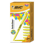 Bic Pocket Highlighter, Chisel Tip, 12BX/CT, Yellow
