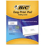 Bic Easy Print & Peel White Mailing Labels, 1 x 2 5/8, White, 900/Box