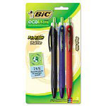 Bic Reaction Ballpoint Retractable Pen, Assorted Ink, Medium, 3 per Pack