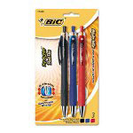 Bic Retractable Pens, Assorted: Blue, Black, Red Ink, Medium Point