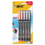 Bic Intensity Permanent Pen, 0.5 mm, Fine, Assorted, 5/Pack