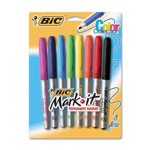 Bic Fine Point Permanent Marker, Eight Color Set, Rubber Grip