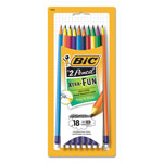 Bic #2 Pencil Xtra Fun, 0.7 mm, Assorted Two-Tone Barrel Colors, 18/Pack