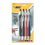 Bic Retractable Gel Roller Ball Pen, 4-Color Set