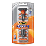 Bic Hybrid 3 Comfort Disposable Men's Razor, 3 Blades, Silver/Orange, 6/Pack