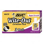 Bic Super Smooth Correction Fluid, 20ml Bottle, White, 3 per Pack