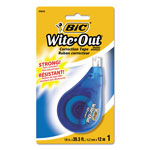 "Bic Correction Tape, 1 Line, White, 1/6"" x 400"", Dispenser"