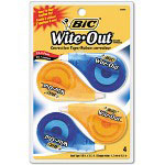 "Bic Correction Tape, Non-Refillable, 1/6"" x 400"", 4/Pack"