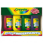 Binney and Smith Washable Fingerpaint Pack, 4 Assorted Colors, 5 oz, 4/Pack