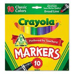 Binney and Smith Non-Washable Markers, Broad Point, Classic Colors, 10/Set