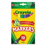 Binney and Smith Non-Washable Markers, Fine Point, Classic Colors, 10/Set
