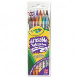 Binney and Smith Twistables Retract Erasable Colored Pencils, Clear Barrel, Asst Colors, 12 Pack