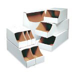"Box Partners 7"" x 12"" x 4 1/2"" Stackable Bin Box"