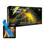 "Atlantic Safety Lightning Storm 12"" Powder Free Blue Nitrile Gloves, Large"