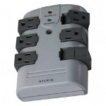 Belkin BP106000 Wallmount SurProtector with 6 Rotating Outlets, 1080 Joules, Gray