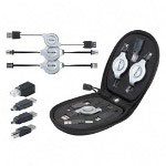Belkin 7 in 1 Retractable Cable Travel Kit, with Adapter, Black/Silver