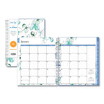 Blue Sky Lindley Monthly Wirebound Planner, 8 x 10, White/Blue, 2018