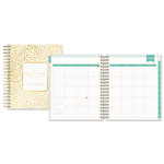 Blue Sky Day Designer Daily/Monthly Planner, 8 x 10, Gold/White, 2019