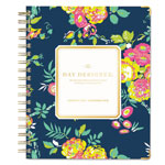 Blue Sky Day Designer Gold Corner Weekly/Monthly Planner, 7 x 9, Navy/Floral, 2017-2018