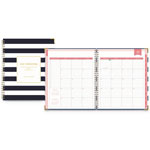 Blue Sky Day Designer Academic Year Weekly/Monthly Hardcover Planner, 8 x 10, Navy/White
