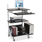Balt 42551 Totally Adjustable Sit/Stand Mobile Workstation, Black Laminate/Silver Metal