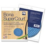 Bona® SuperCourt Athletic Floorcare Microfiber Cleaning Pad, 12 Dia, Lt/Dk Blue,2/Pk