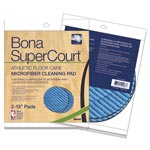"Bona® SuperCourt Athletic Floorcare Microfiber Cleaning Pad, 13"" Dia, Lt/Dk Blue,2/Pk"